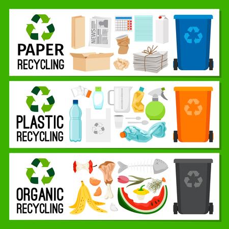 Ilustración de Banners with paper plastic and organic trash, vector illustration - Imagen libre de derechos