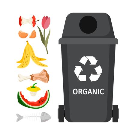 Ilustración de Organic garbage bin. - Imagen libre de derechos