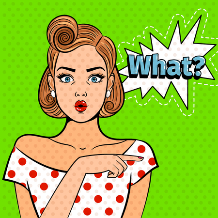 Illustration pour Pop art surprised lady. Young beautiful girl with what sign, pretty comic art shocked woman vector illustration - image libre de droit