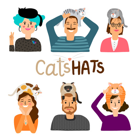 Cats hats cartoon icons