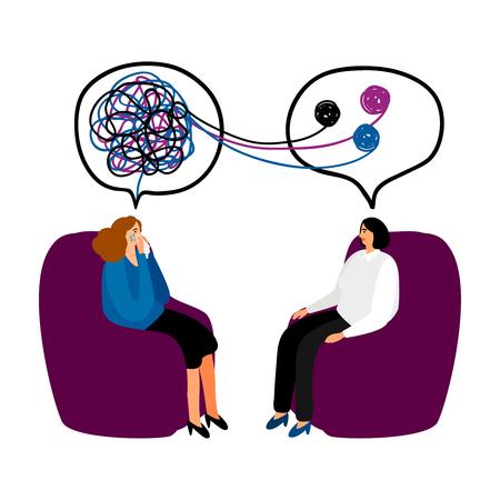 Ilustración de Psychotherapy concept illustration - Imagen libre de derechos