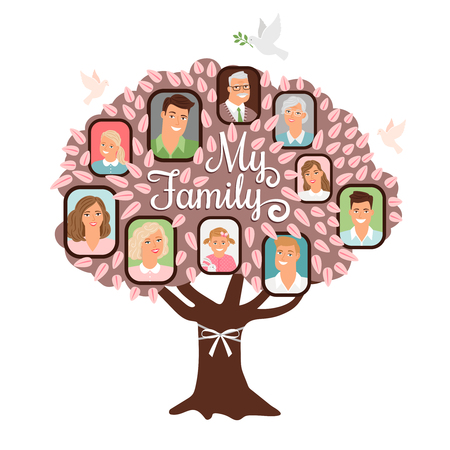 Illustration pour Family tree cartoon doodle icon with family pictures in pink color, vector illustration - image libre de droit