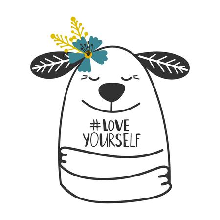 Ilustración de Cute doodle dog girl print with hashtag Love yourself vector illustration - Imagen libre de derechos