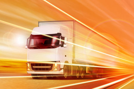 Photo pour White truck moving in tunnel at night - image libre de droit