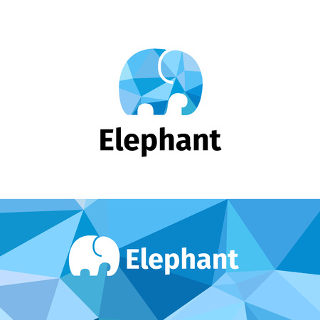 Vector trendy polygonal minimalistic elephant logo. Low poly logotype