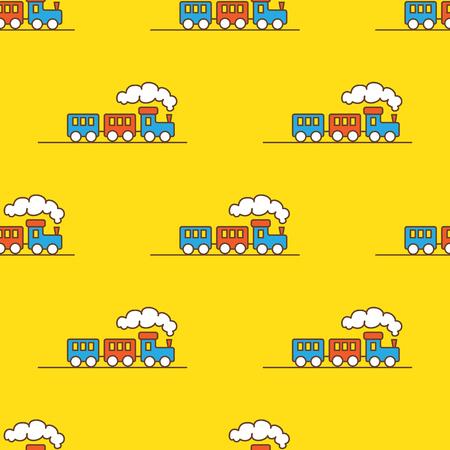 Ilustración de Vector funny cartoon toy train seamless pattern. Little steam train background. - Imagen libre de derechos