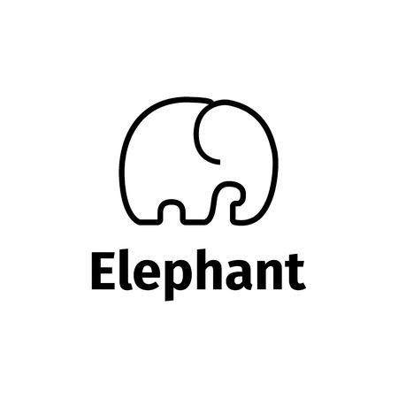 Illustration pour Vector black line style minimalistic elephant logo - image libre de droit