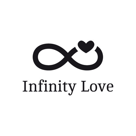 Illustration pour Vector infinity sign with heart logotype. Modern romantic logo - image libre de droit