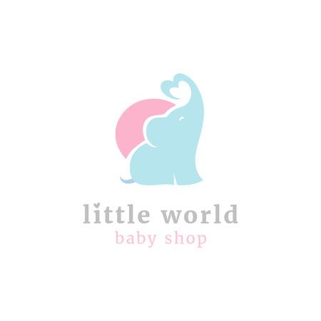 Illustration pour Cute little elephant logo. Kids toy shop and baby goods store mascot symbol - image libre de droit