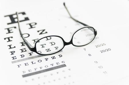 Foto de Glasses on eye chart - Imagen libre de derechos