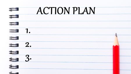 Photo pour Action Plan Text written on notebook page, red pencil on the right - image libre de droit