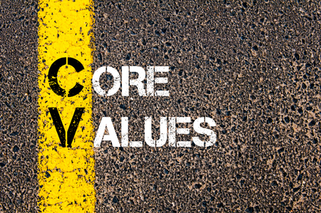 Photo for Concept image of Business Acronym CV as CORE VALUES written over road marking yellow paint line. - Royalty Free Image