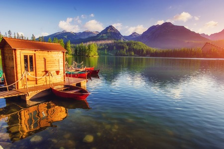 Photo for Majestic mountain lake in National Park High Tatra. Strbske pleso, Slovakia, Europe. - Royalty Free Image