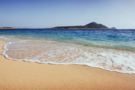 Photo for Fantastic views of the sea coast with yellow sand and blue water. - Royalty Free Image