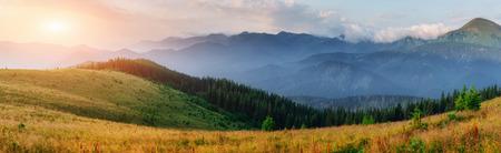 Photo for Sunset in the mountains landscape. Dramatic sky. Carpathian, Ukraine, Europe. Beauty world. - Royalty Free Image