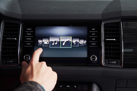 Foto per car interior - devices, the concept of driving. - Immagine Royalty Free