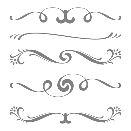 Illustrazione per Collection of vector calligraphic lines ornaments or dividers . Retro style - Immagini Royalty Free