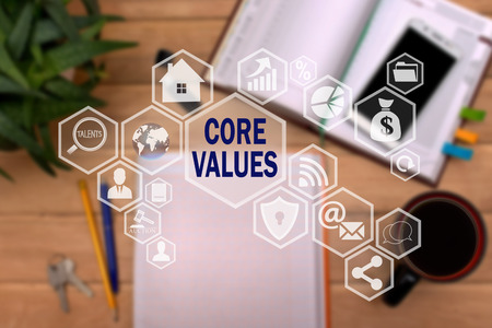 Foto für CORE VALUES on the touch screen to the network, on office blur background.Concept of CORE VALUES - Lizenzfreies Bild