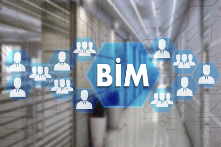 Photo pour Building Information Modeling. BIM  on the touch screen with a blur background of the office.The concept of Building Information Model  BIM - image libre de droit