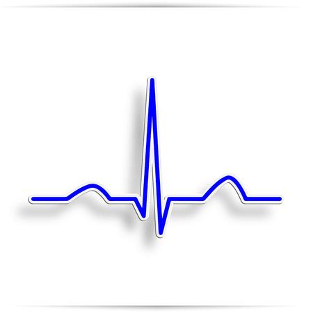 Foto de Heart beat electrocardiogram pulse on blue medical chart background. Vector blue heartbeat life line monitor. Digital ECG or EKG cardiogram healthcare wave concept - Imagen libre de derechos