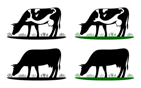 Illustration pour Cow grazing on meadow, cow silhouette in field eating grass. Vector cow icon or logo for farm store or market. Milk, dairy, farm product design element set. - image libre de droit