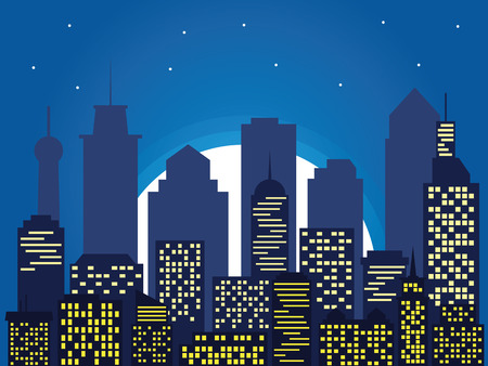 Illustration pour Night silhouette of the city and full moon with stars, cartoon style. Vector illustration of cityscape, flat design - image libre de droit