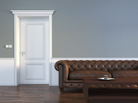 Photo pour Door with sofa in empty room - image libre de droit