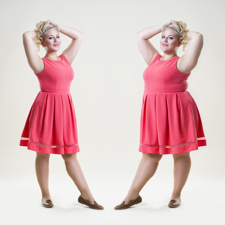 Photo for After before loss weight concept, happy plus size fashion model, sexy fat and slim woman on beige studio background, full length portrait - Royalty Free Image