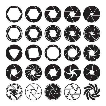 Ilustración de Set of black camera shutter icons on white background.  - Imagen libre de derechos