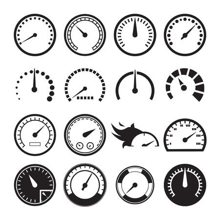 Illustration pour Set of speedometers icons. Vector illustration - image libre de droit