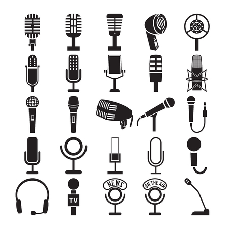 Photo for Microphone icons set. Vector illustration - Royalty Free Image
