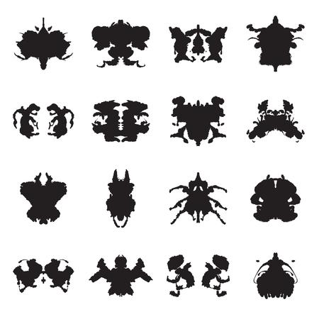 Illustrazione per Collection of 16  Rorschach test inkblots. Vector illustration - Immagini Royalty Free
