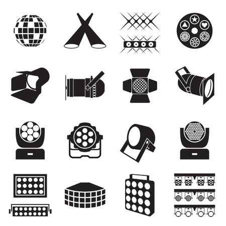 Illustration pour Stage lighting icons. Scene lighting equipment icons. Vector illustration - image libre de droit