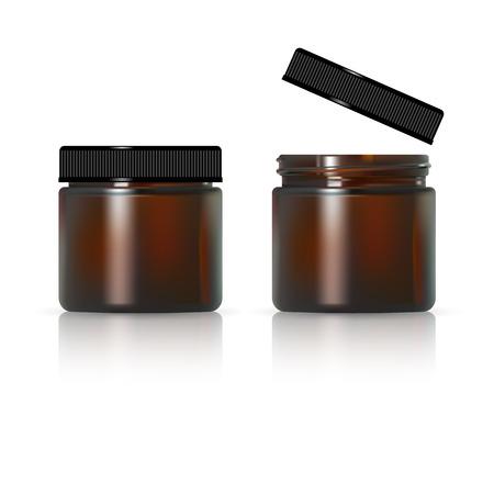 Ilustración de Brown glass jar for cosmetic cream. Realistic cosmetic package - Imagen libre de derechos
