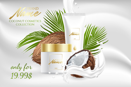 Illustration pour Design cosmetics product advertising for catalog, magazine. Mock up of cosmetic package. Moisturizing cream, gel, milk body lotion with coconut oil. - image libre de droit