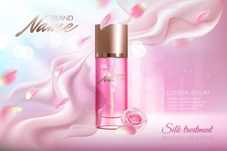 Illustration for Advertising poster for cosmetic product with rose petals and glass container. - Royalty Free Image