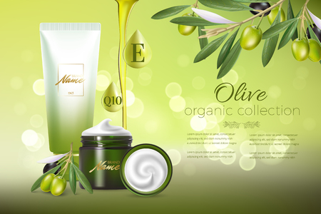 Illustration pour Design cosmetics product advertising for catalog, magazine. Mock up of cosmetic package. Moisturizing cream, gel, milk body lotion with olive oil. - image libre de droit