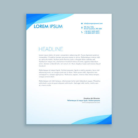 Illustration pour corporate blue wave letterhead design - image libre de droit