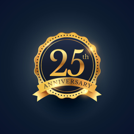 Illustration for 25th anniversary celebration badge label in golden color - Royalty Free Image