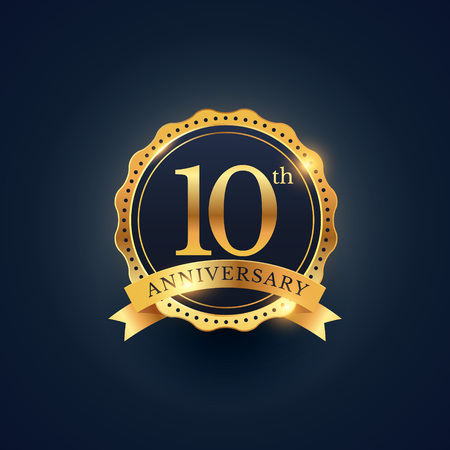 Illustration for 10th anniversary celebration badge label in golden color - Royalty Free Image