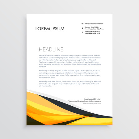 Illustration for yellow and black abstract wave letterhead template - Royalty Free Image