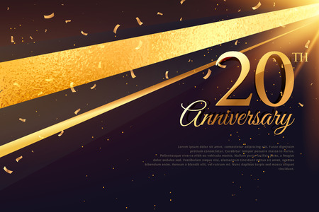 Illustration for 20th anniversary celebration card template - Royalty Free Image