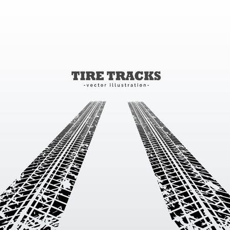 Ilustración de road tire tracks perspective background - Imagen libre de derechos