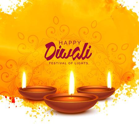 Ilustración de happy diwali vector background with orange watercolor - Imagen libre de derechos