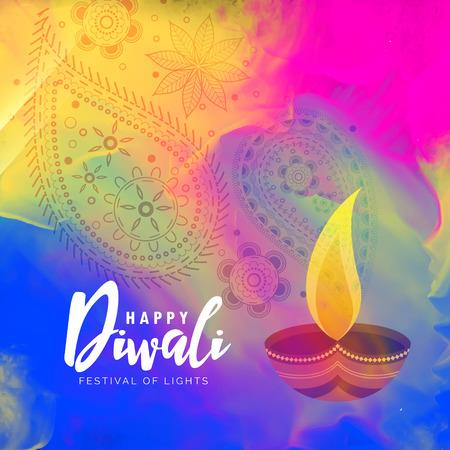 Ilustración de beautiful happy diwali watercolor background design - Imagen libre de derechos