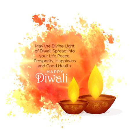 Illustration pour awesome diwali festival wishes with watercolor splash and diya - image libre de droit