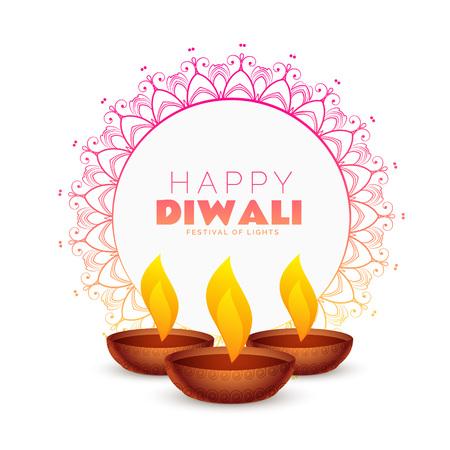 Ilustración de elegant happy diwali festival background with mandala decoration - Imagen libre de derechos