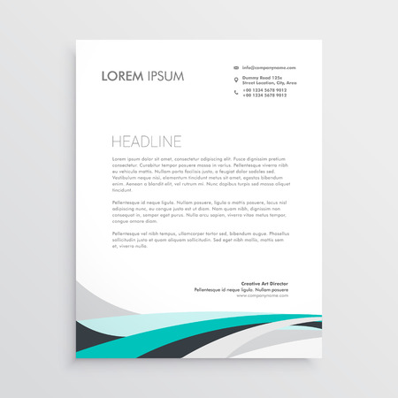 Illustration for modern letterhead vector design template with blue wavy shape - Royalty Free Image