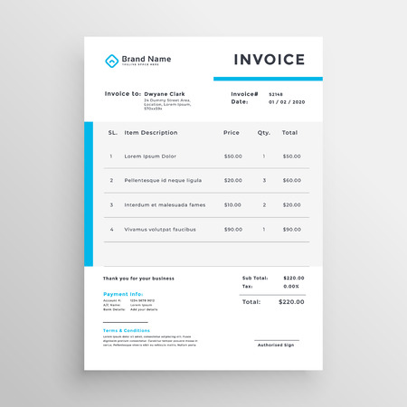 Illustration pour Simple invoice vector template design - image libre de droit