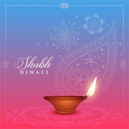 Ilustración de beautiful diwali background with diya and paisley design - Imagen libre de derechos